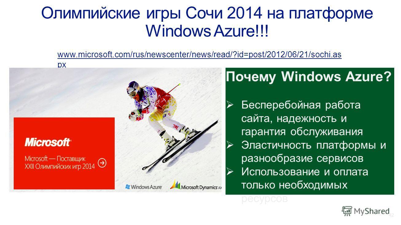 42 www.microsoft.com/rus/newscenter/news/read/?id=post/2012/06/21/sochi.as px Почему Windows Azure? Бесперебойная работа сайта, надежность и гарантия обслуживания Эластичность платформы и разнообразие сервисов Использование и оплата только необходимы