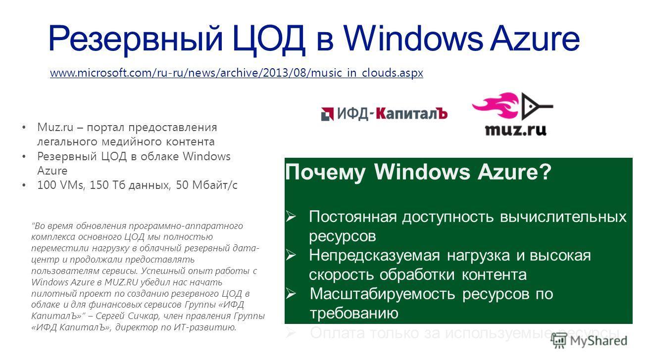 Muz.ru – портал предоставления легального медийного контента Резервный ЦОД в облаке Windows Azure 100 VMs, 150 Тб данных, 50 Мбайт/c Почему Windows Azure? Постоянная доступность вычислительных ресурсов Непредсказуемая нагрузка и высокая скорость обра