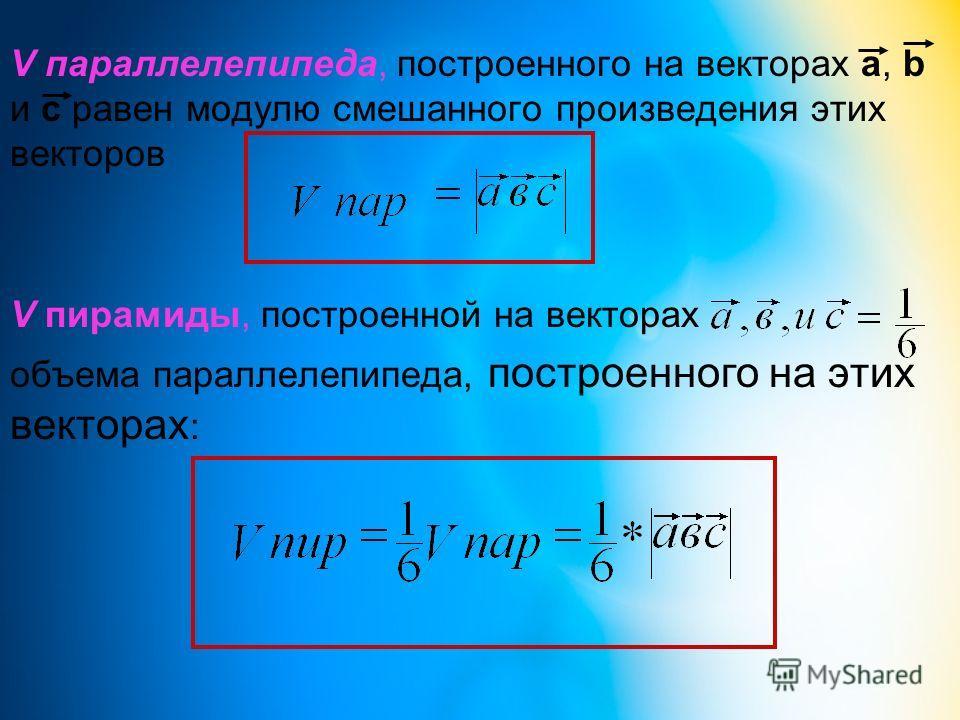 V параллелепипеда, построенного на векторах а, b и с равен модулю смешанного произведения этих векторов V пирамиды, построенной на векторах объема параллелепипеда, построенного на этих векторах :