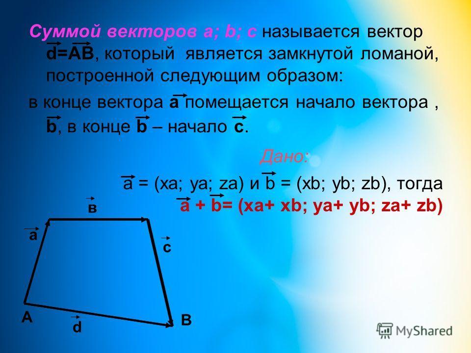 Суммой векторов а; b; с называется вектор d=АВ, который является замкнутой ломаной, построенной следующим образом: в конце вектора а помещается начало вектора, b, в конце b – начало с. Дано: a = (xa; ya; za) и b = (xb; yb; zb), тогда a + b= (xa+ xb;
