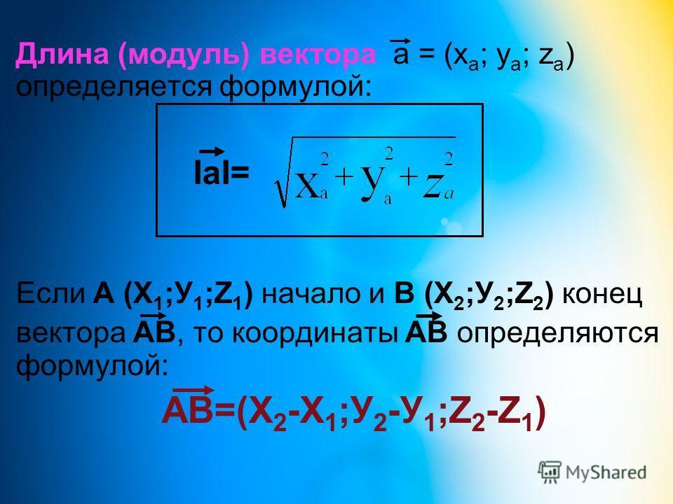 Длина (модуль) вектора a = (x a ; y a ; z a ) определяется формулой: IaI= Если А (Х 1 ;У 1 ;Z 1 ) начало и В (Х 2 ;У 2 ;Z 2 ) конец вектора АВ, то координаты АВ определяются формулой: АВ=(Х 2 -Х 1 ;У 2 -У 1 ;Z 2 -Z 1 )