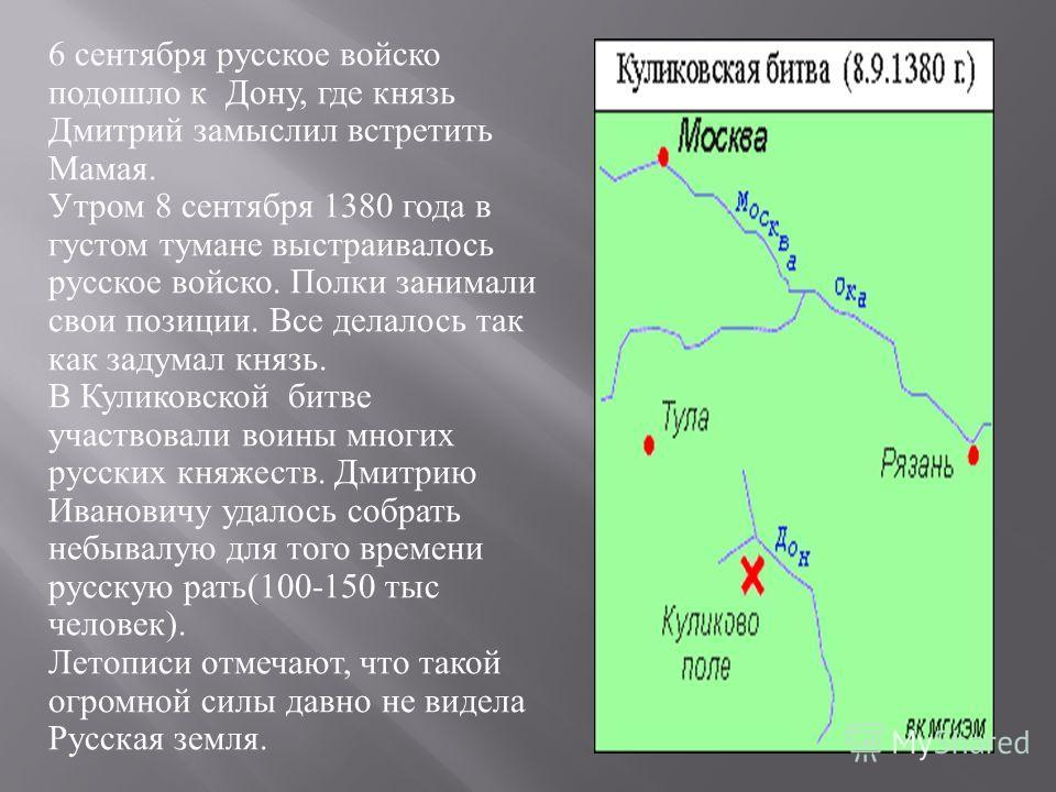 6 сентября русское войско подошло к Дону, где князь Дмитрий замыслил встретить Мамая. Утром 8 сентября 1380 года в густом тумане выстраивалось русское войско. Полки занимали свои позиции. Все делалось так как задумал князь. В Куликовской битве участв