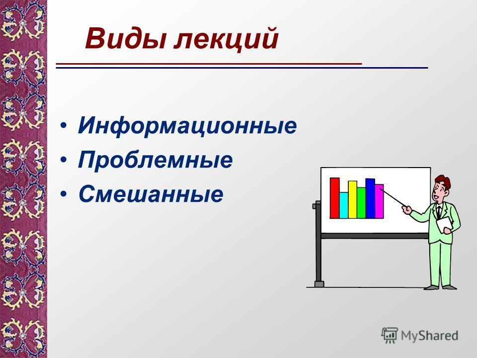Виды лекций Информационные Проблемные Смешанные