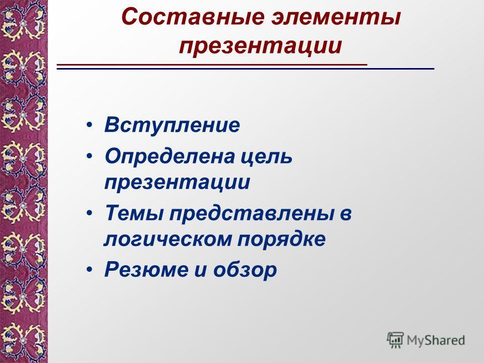 Вступление Определена цель презентации Темы представлены в логическом порядке Резюме и обзор Составные элементы презентации