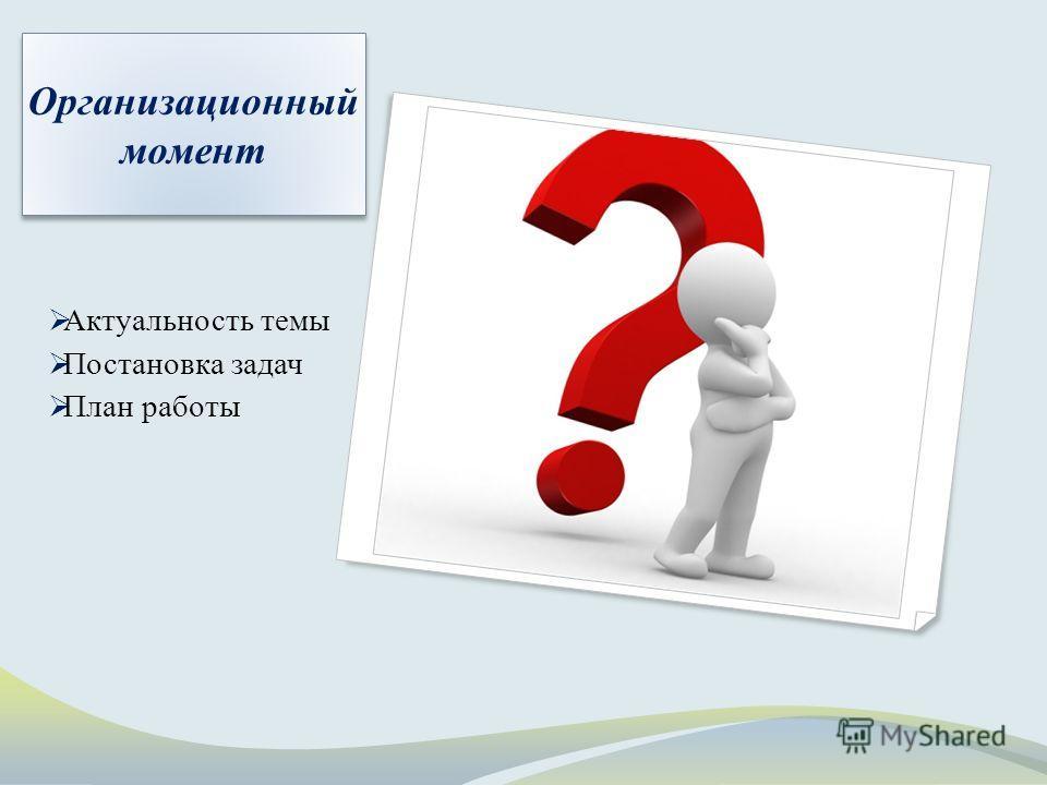 Организационный момент Актуальность темы Постановка задач План работы