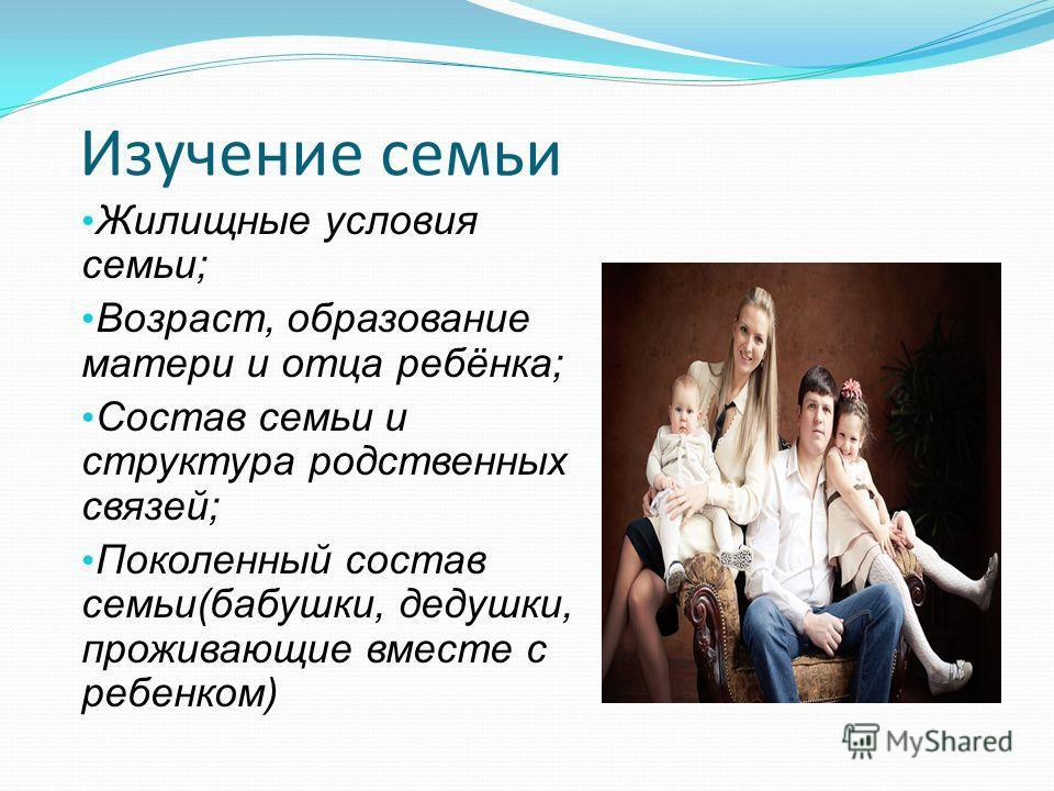 Изучение семьи Жилищные условия семьи; Возраст, образование матери и отца ребёнка; Состав семьи и структура родственных связей; Поколенный состав семьи(бабушки, дедушки, проживающие вместе с ребенком)