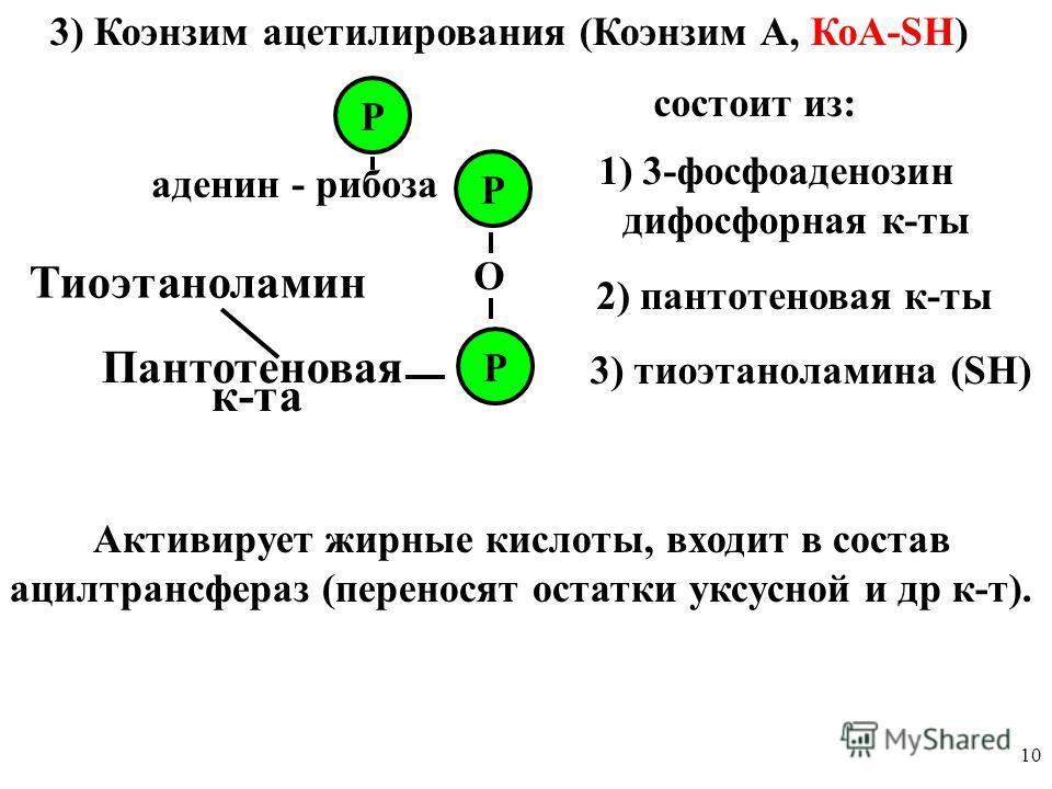 10 3) Коэнзим ацетилирования (Коэнзим А, КоА-SН) аденин - рибоза Р Р Р О состоит из: 1) 3-фосфоаденозин дифосфорная к-ты 2) пантотеновая к-ты 3) тиоэтаноламина (SН) Активирует жирные кислоты, входит в состав ацилтрансфераз (переносят остатки уксусной