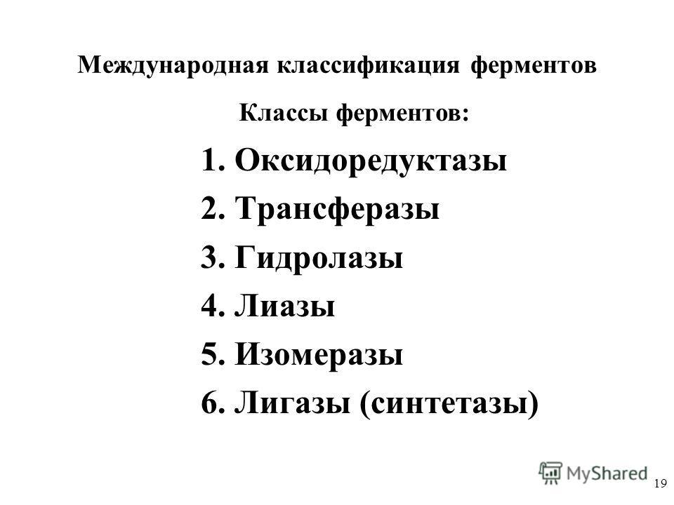 19 Международная классификация ферментов 1. Оксидоредуктазы 2. Трансферазы 3. Гидролазы 4. Лиазы 5. Изомеразы 6. Лигазы (синтетазы) Классы ферментов: