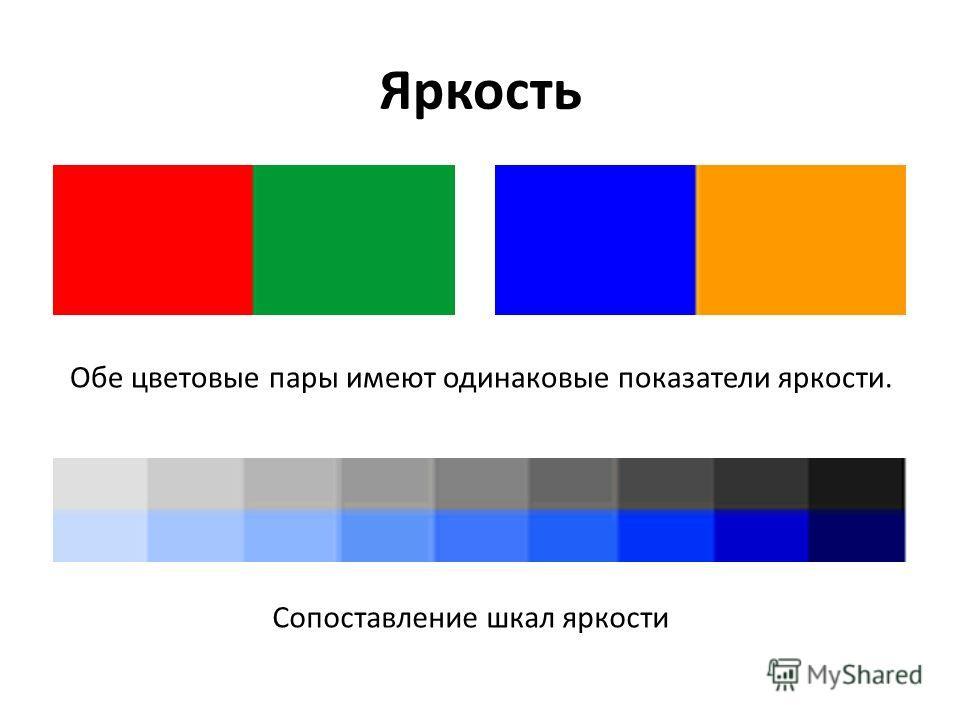 Яркость Обе цветовые пары имеют одинаковые показатели яркости. Сопоставление шкал яркости