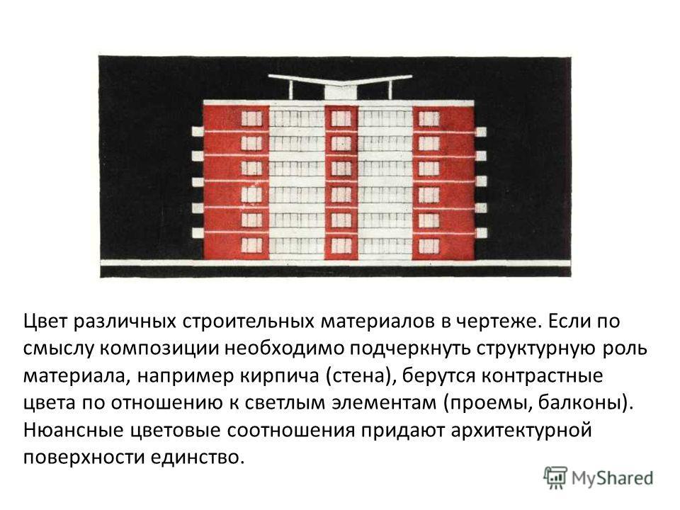 Цвет различных строительных материалов в чертеже. Если по смыслу композиции необходимо подчеркнуть структурную роль материала, например кирпича (стена), берутся контрастные цвета по отношению к светлым элементам (проемы, балконы). Нюансные цветовые с