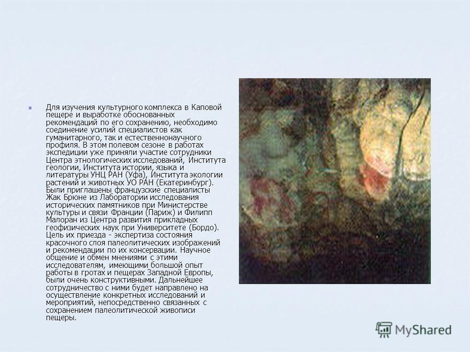Для изучения культурного комплекса в Каповой пещере и выработке обоснованных рекомендаций по его сохранению, необходимо соединение усилий специалистов как гуманитарного, так и естественнонаучного профиля. В этом полевом сезоне в работах экспедиции уж