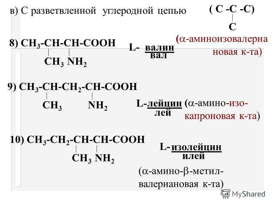 S S 6) СН 2 - СН-СООН NН 2 СН 2 - СН-СООН NН 2 L -цистин 7) СН 2 - СН 2 - СН-СООН S СН 3 NН 2 L-L- метионин мет. ( -амино- -метил- тиомасляная к-та)