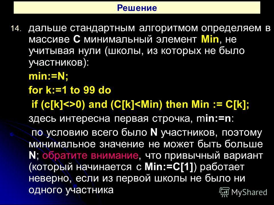 14. 14. дальше стандартным алгоритмом определяем в массиве C минимальный элемент Min, не учитывая нули (школы, из которых не было участников): min:=N; for k:=1 to 99 do if (c[k]0) and (C[k]