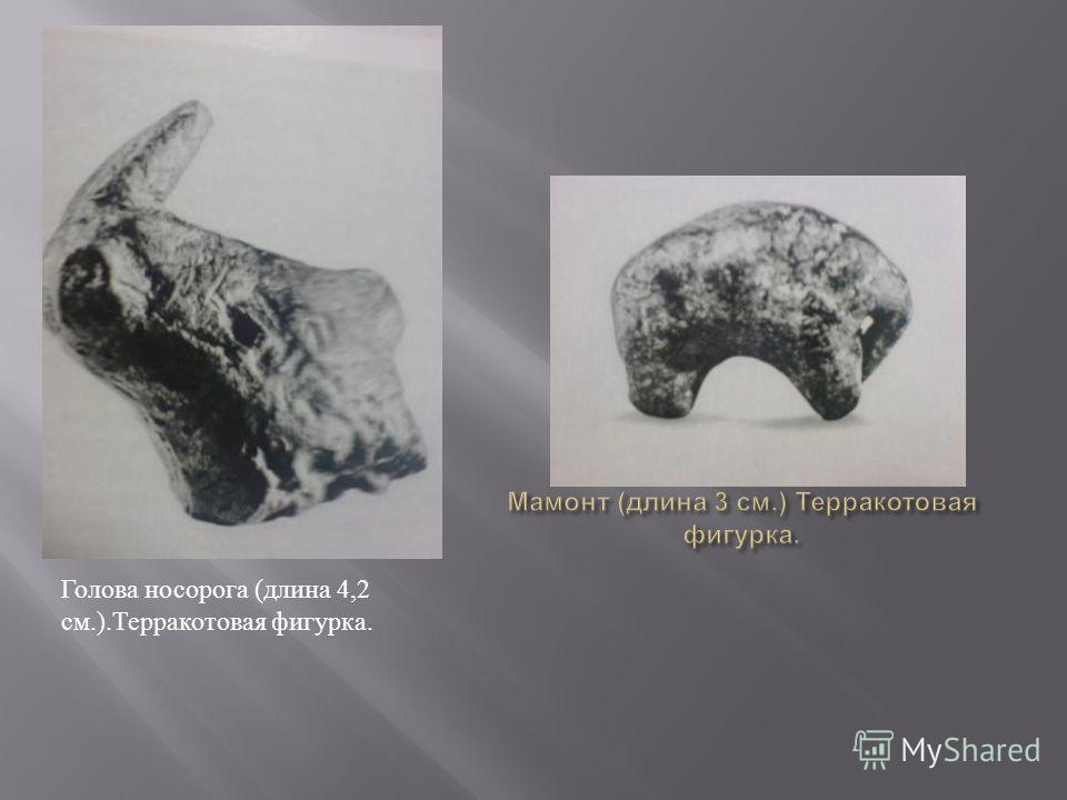 Голова носорога (длина 4,2 см.).Терракотовая фигурка.