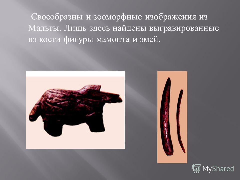 Своеобразны и зооморфные изображения из Мальты. Лишь здесь найдены выгравированные из кости фигуры мамонта и змей.