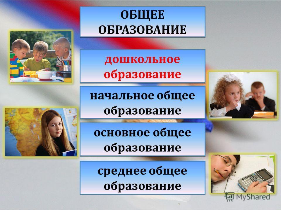 1 дошкольное образование начальное общее образование основное общее образование среднее общее образование ОБЩЕЕ ОБРАЗОВАНИЕ