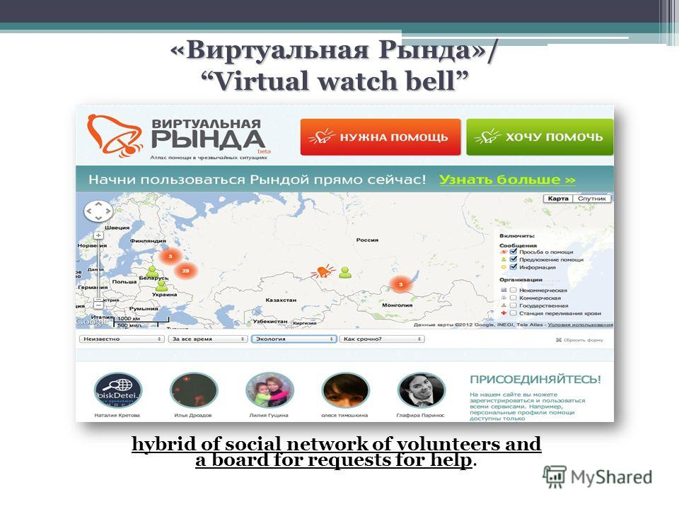 « Виртуальная Рында»/ Virtual watch bell hybrid of social network of volunteers and a board for requests for help.