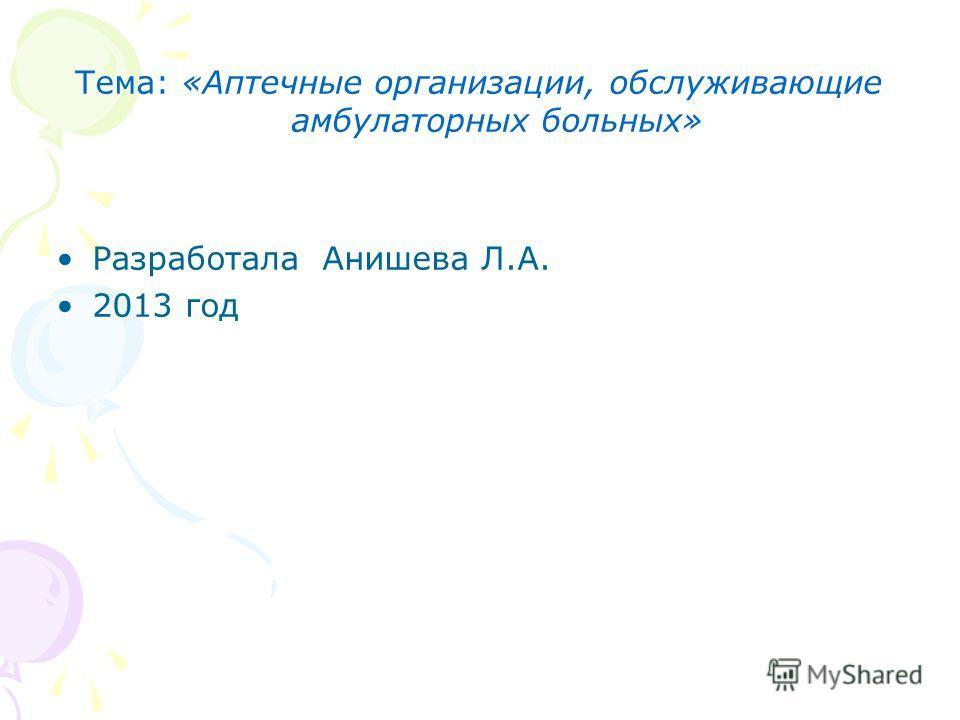 Тема: «Аптечные организации, обслуживающие амбулаторных больных» Разработала Анишева Л.А. 2013 год