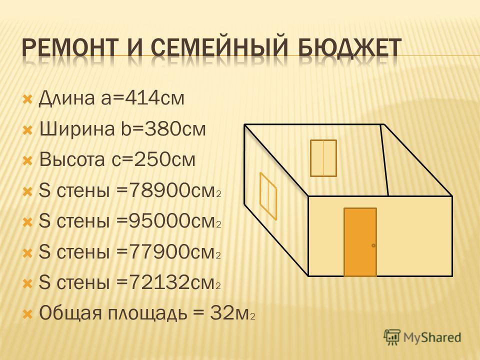 Длина а=414см Ширина b=380см Высота с=250см S стены =78900см 2 S стены =95000см 2 S стены =77900см 2 S стены =72132см 2 Общая площадь = 32м 2