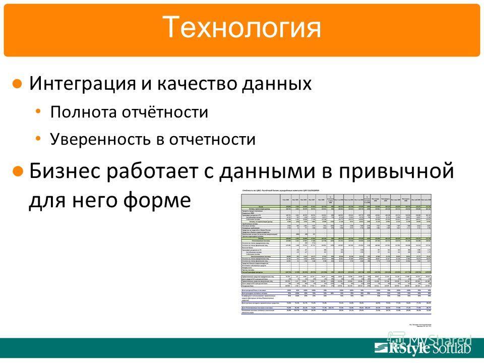 Технология Интеграция и качество данных Полнота отчётности Уверенность в отчетности Бизнес работает с данными в привычной для него форме