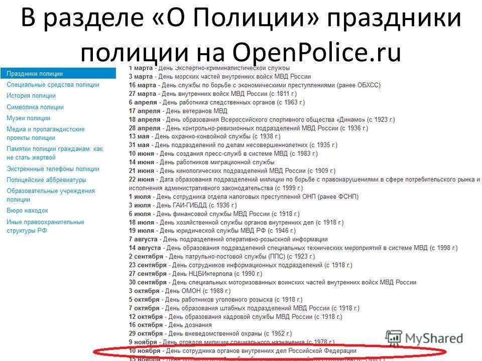 Идея Школы Открытых Данных В разделе «О Полиции» праздники полиции на OpenPolice.ru 12