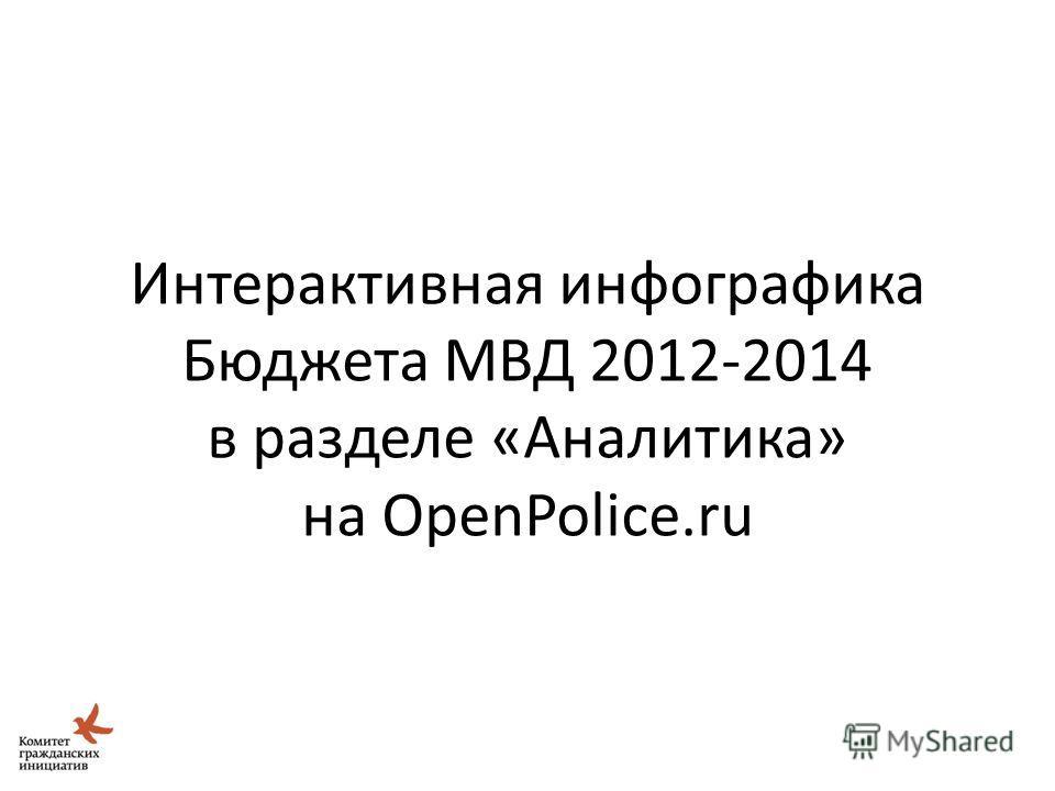 Идея Школы Открытых Данных 26 Интерактивная инфографика Бюджета МВД 2012-2014 в разделе «Аналитика» на OpenPolice.ru
