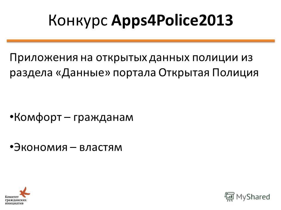 Идея Школы Открытых Данных Приложения на открытых данных полиции из раздела «Данные» портала Открытая Полиция Комфорт – гражданам Экономия – властям Конкурс Apps4Police2013 48