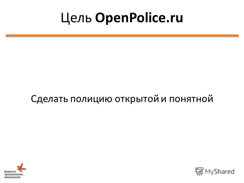 Идея Школы Открытых Данных Сделать полицию открытой и понятной Цель OpenPolice.ru 6