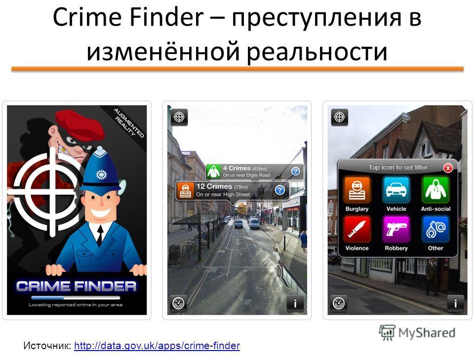 Идея Школы Открытых Данных Crime Finder – преступления в изменённой реальности 60 Источник: http://data.gov.uk/apps/crime-finderhttp://data.gov.uk/apps/crime-finder