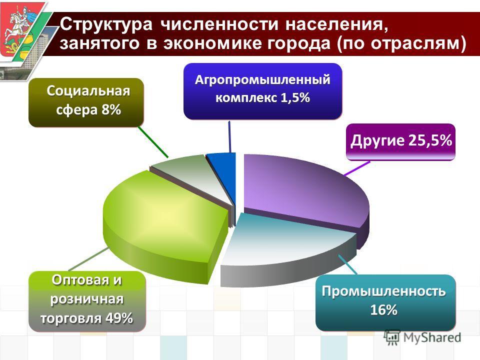 Социальная сфера 8% Оптовая и розничная торговля 49% Агропромышленный комплекс 1,5% Промышленность 16% Структура численности населения, занятого в экономике города (по отраслям) Другие 25,5%