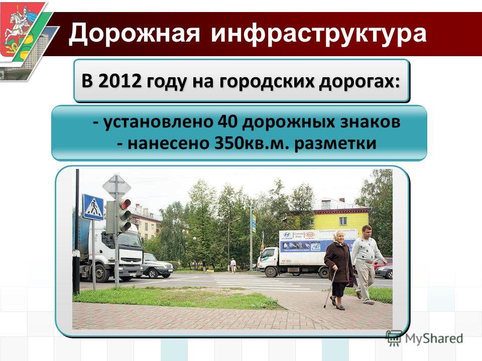 Дорожная инфраструктура В 2012 году на городских дорогах: - установлено 40 дорожных знаков - нанесено 350кв.м. разметки