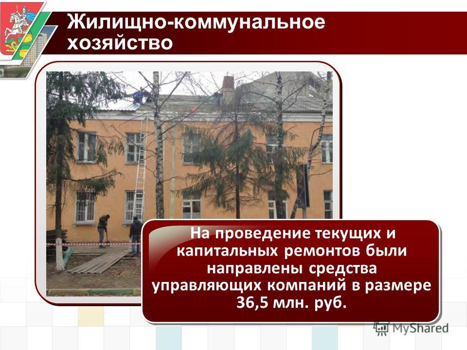 Жилищно-коммунальное хозяйство На проведение текущих и капитальных ремонтов были направлены средства управляющих компаний в размере 36,5 млн. руб.