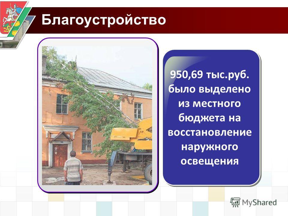 Благоустройство 950,69 тыс.руб. было выделено из местного бюджета на восстановление наружного освещения