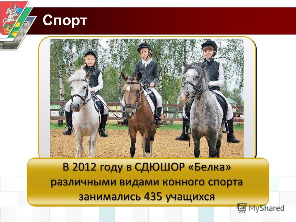 Спорт В 2012 году в СДЮШОР «Белка» различными видами конного спорта занимались 435 учащихся