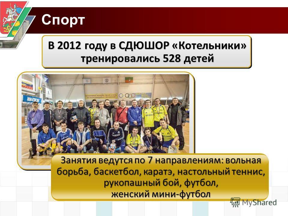 Спорт В 2012 году в СДЮШОР «Котельники» тренировались 528 детей Занятия ведутся по 7 направлениям: вольная борьба, баскетбол, каратэ, настольный теннис, рукопашный бой, футбол, женский мини-футбол
