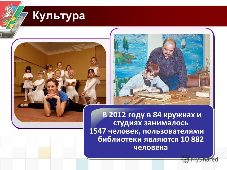 Культура В 2012 году в 84 кружках и студиях занималось 1547 человек, пользователями библиотеки являются 10 882 человека