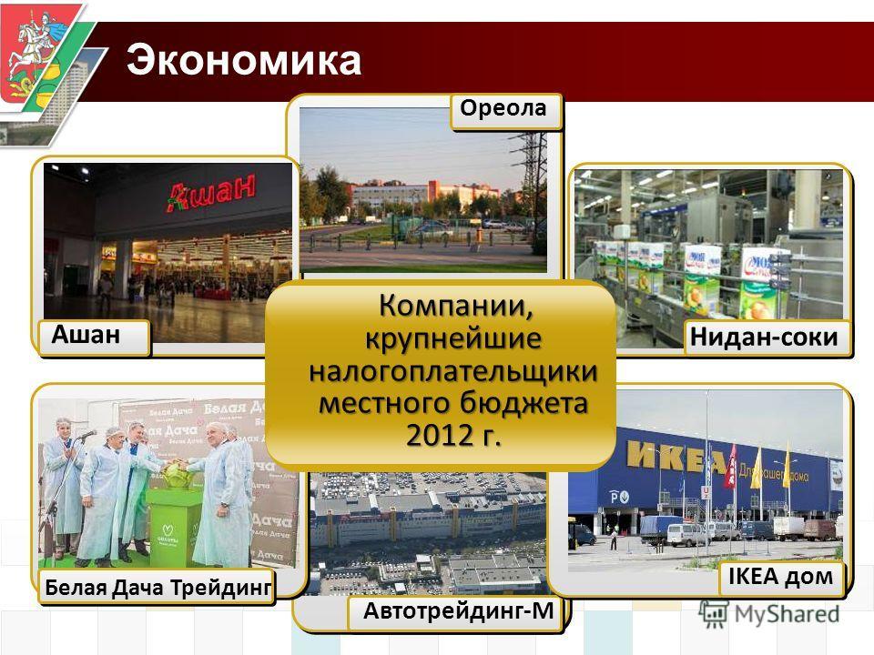 Экономика Ашан Белая Дача Трейдинг Нидан-соки Автотрейдинг-М Ореола IKEA дом Компании, крупнейшие налогоплательщики местного бюджета 2012 г.