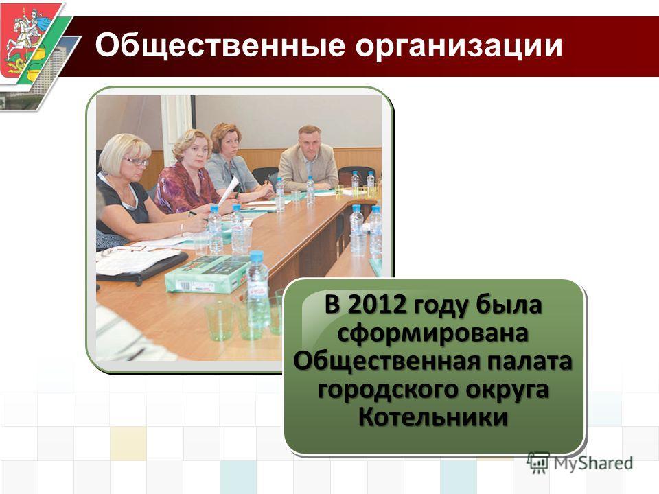 Общественные организации В 2012 году была сформирована Общественная палата городского округа Котельники
