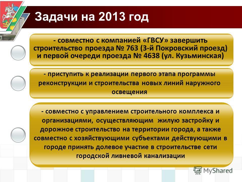 Задачи на 2013 год - приступить к реализации первого этапа программы реконструкции и строительства новых линий наружного освещения - совместно с управлением строительного комплекса и организациями, осуществляющим жилую застройку и дорожное строительс