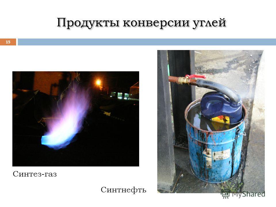 Продукты конверсии углей 15 Синтез-газ Синтнефть