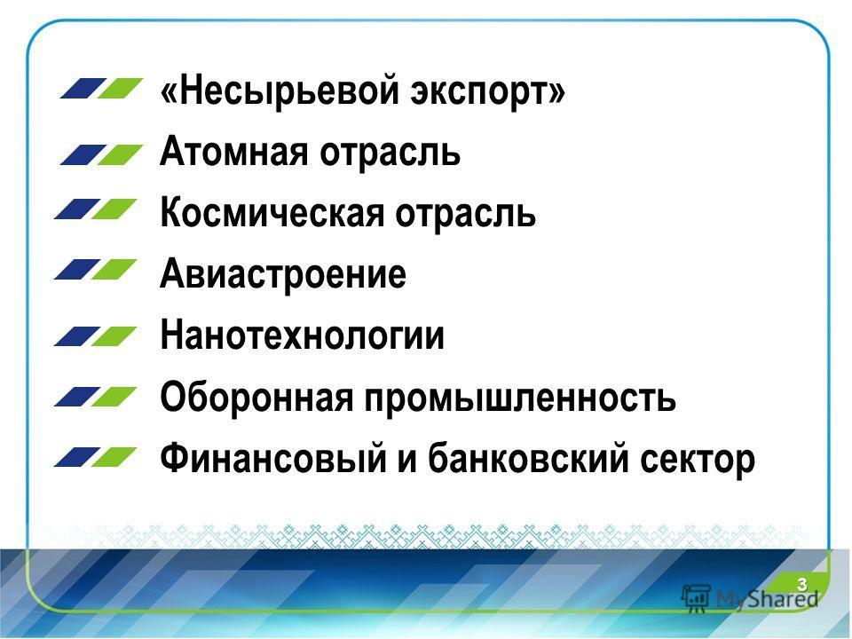 «Несырьевой экспорт» Атомная отрасль Космическая отрасль Авиастроение Нанотехнологии Оборонная промышленность Финансовый и банковский сектор 3