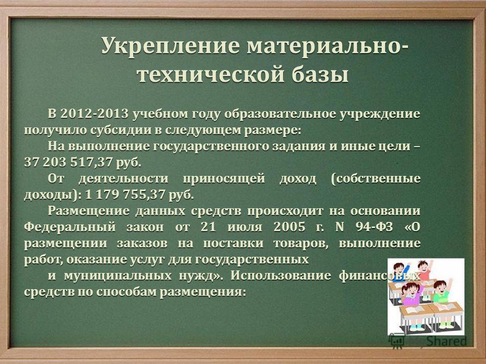 Укрепление материально - технической базы В 2012-2013 учебном году образовательное учреждение получило субсидии в следующем размере : На выполнение государственного задания и иные цели – 37 203 517,37 руб. От деятельности приносящей доход ( собственн