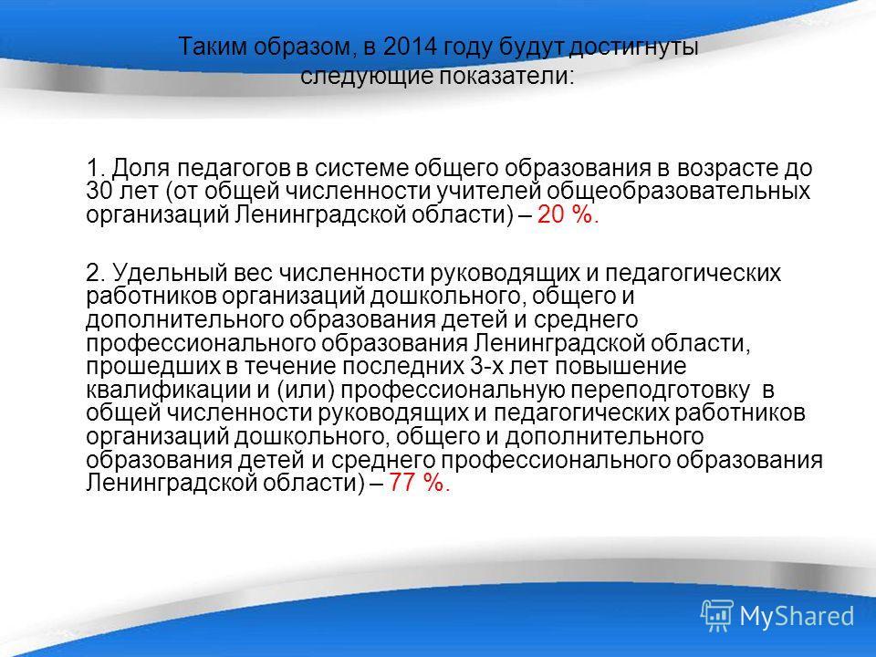 Таким образом, в 2014 году будут достигнуты следующие показатели: 1. Доля педагогов в системе общего образования в возрасте до 30 лет (от общей численности учителей общеобразовательных организаций Ленинградской области) – 20 %. 2. Удельный вес числен