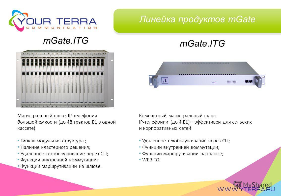 Линейка продуктов mGate mGate.ITG Магистральный шлюз IP-телефонии большой емкости (до 48 трактов Е1 в одной кассете) Гибкая модульная структура ; Наличие кластерного решения; Удаленное техобслуживание через CLI; Функции внутренней коммутации; Функции