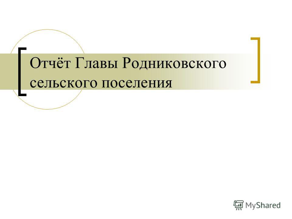 Отчёт Главы Родниковского сельского поселения