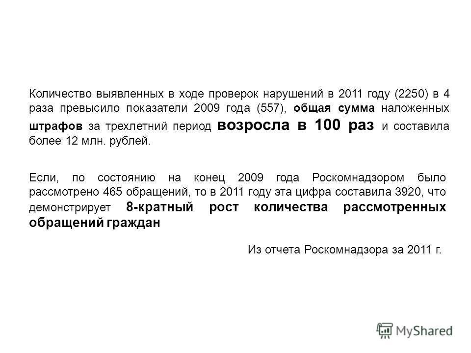 Количество выявленных в ходе проверок нарушений в 2011 году (2250) в 4 раза превысило показатели 2009 года (557), общая сумма наложенных штрафов за трехлетний период возросла в 100 раз и составила более 12 млн. рублей. Если, по состоянию на конец 200
