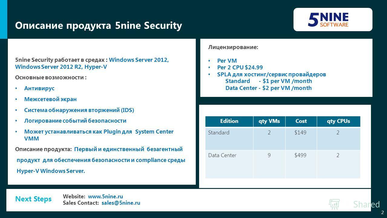 Описание продукта 5nine Security 2 5nine Security работает в средах : Windows Server 2012, Windows Server 2012 R2, Hyper-V Основные возможности : Антивирус Межсетевой экран Система обнаружения вторжений (IDS) Логирование событий безопасности Может ус