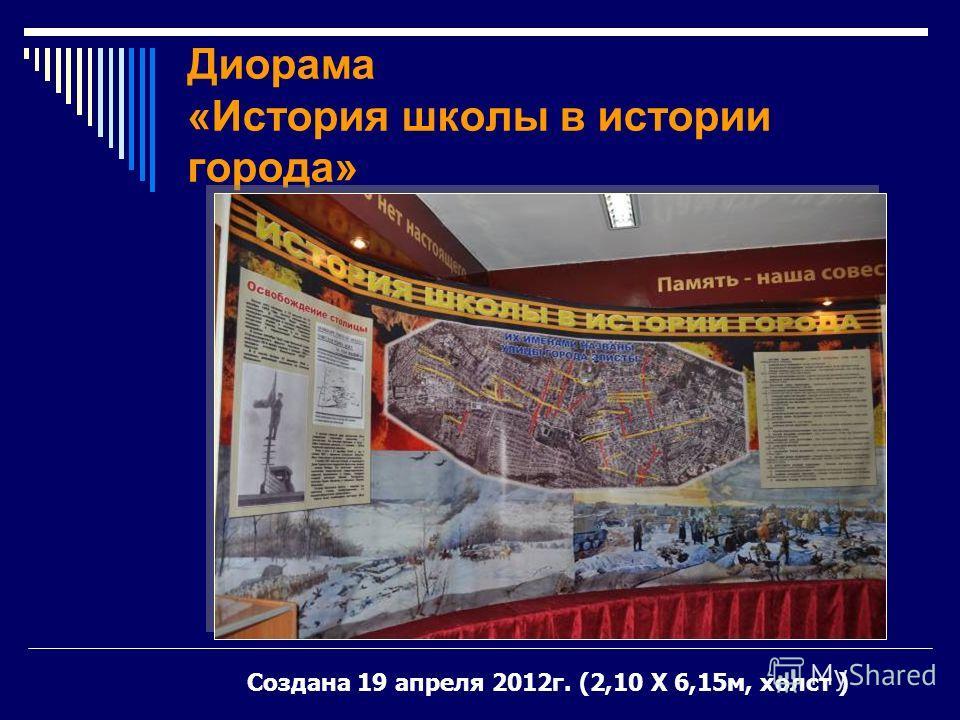 Диорама «История школы в истории города» Создана 19 апреля 2012г. (2,10 Х 6,15м, холст )