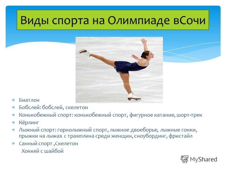 Биатлон Бобслей: бобслей, скелетон Конькобежный спорт: конькобежный спорт, фигурное катание, шорт-трек Кёрлинг Лыжный спорт: горнолыжный спорт, лыжное двоеборье, лыжные гонки, прыжки на лыжах с трамплина среди женщин, сноубординг, фристайл Санный спо