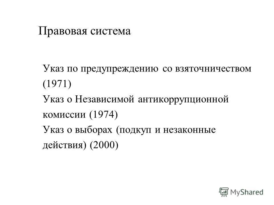 Правовая система Указ по предупреждению со взяточничеством (1971) Указ о Независимой антикоррупционной комиссии (1974) Указ о выборах (подкуп и незаконные действия) (2000)